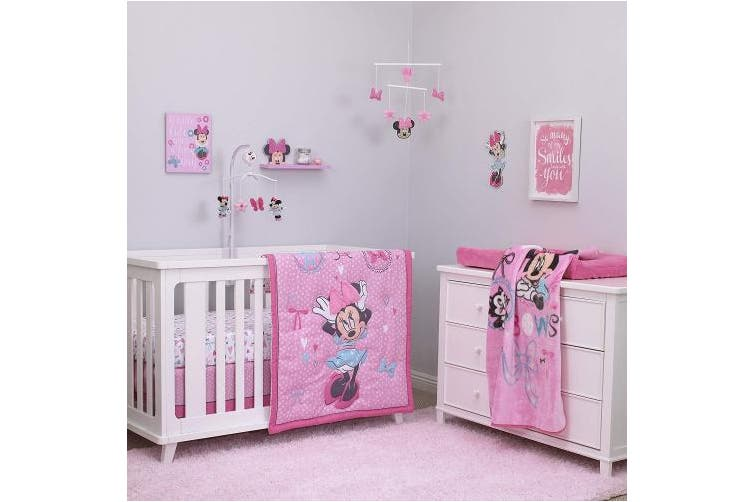(Minnie Mouse - All About Bows) - Disney Baby Minnie Mouse All About Bows 4 Piece Nursery Crib Bedding Set, Pink, Aqua