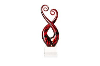 (Black and Red Swirl) - Badash - Pietro Murano Style Art Glass Black & Red 33cm Centrepiece on Crystal Base