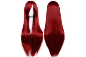 "(Wine Red) - S-noilite® 32""(80CM) Long Full Head Wigs Straight Cosplay Costume Anime Wig Party Halloween Fancy Dress (Wine Red)"