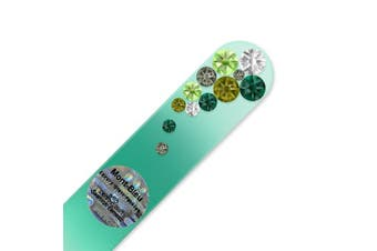 (Green) - Mont Bleu Crystal Nail File hand decorated with crystals from ®   Handbag Size, Hand Made, Czech Tempered Glass, Lifetime Guaranty