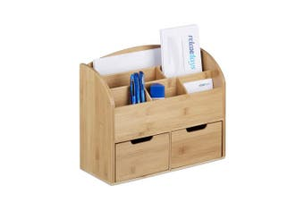 Relaxdays Bamboo Desk Organiser, Letter Holder, 6 Compartments, 2 Drawers, Natural Wood Grain, 25.5 x 33 x 13.5 cm, Natural Brown