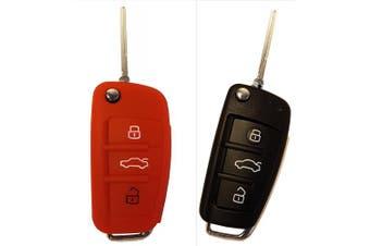 (3-Button-key-bit-B, red) - CK + Audi Car Key Keyless Case Cover Case Silicon for A1 A3 A4 A5 A6 Q3 Q5 Q7 TT RS S3 R8