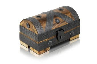 (Pirate S dark 20x11x11cm) - Brynnberg - Pirate Treasure Chest Storage Box - Durable Wood & Metal Construction - Unique, Handmade Vintage Design With A Front Lock - Striking Decorative Element - The Best Gift (Pirate S dark 20x11x11cm)