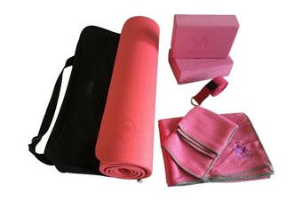 (Pink) - Yoga Set Kit 7-Piece 1 Yoga Mat, Yoga Mat Towel, 2 Yoga Blocks, Yoga Strap, Yoga Hand Towel, Free Carry Case for Exercises Yogis and Mom