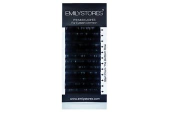 (12MM) - EMILYSTORES Eyelash Extensions 0.10mm Thickness C Curl Length 12mm Silk Mink Fake Eye Lashes In One Tray