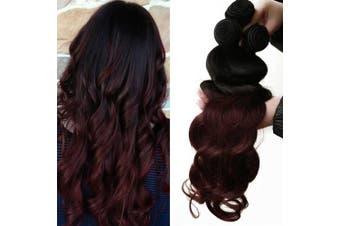 (10/12/14, 1b/99J-BW) - LaBetti 3 Bundles 100% Unprocessed Human Hair Straight Brazilian Virgin Hair 8 10 12 14 16 18 20 22 24 26 28 80cm 300g Ombre Body Wave Hair Weave (10/12/14, 1b/99J-BW)