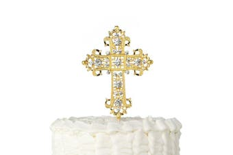 (Gold) - Cross Cake Topper, First Communion, Religious, Wedding, Baptism, Christening, Dedication, Keepsake Decoration (Gold)