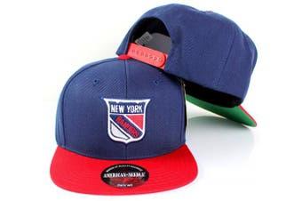 (Adjustable, New York Rangers) - American Needle NHL 400 Series Flat Brim Cap