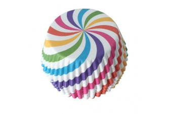 25 PC Fun Rainbow Swirl Cupcake Wrapper Set Cupcake Wrappers from Bakell