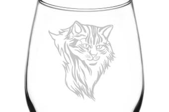 (Realistic Cat Breed Faces, Domestic Longhair Alternate) - (Domestic Longhair Alternate) Realistic Cat Breed Face Inspired - Laser Engraved 380ml Libbey All-Purpose Wine Taster Glass