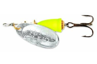 (Silver/Fluor Yellow) - Blue Fox Classic Vibrax Painted 210ml Fishing Lures