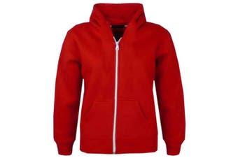 (7-8 Years, Red New Style) - A2Z 4 Kids® Kids Girls & Boys Unisex Plain Fleece Hoodie Zip Up Style Zipper Age 5 6 7 8 9 10 11 121 3 Years