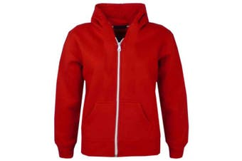 (5-6 Years, Red New Style) - A2Z 4 Kids® Kids Girls & Boys Unisex Plain Fleece Hoodie Zip Up Style Zipper Age 5 6 7 8 9 10 11 121 3 Years