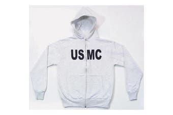 (X-Large, Grey) - Fox Outdoor Men's Usmc Imprint Front Zip Hooded Sweatshirt