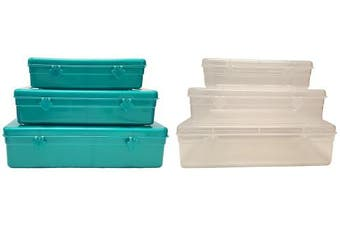 (Teal) - Set of 6 Black Duck Brand Storage & School Supply Containers in 3 Different Sizes - 4 Assorted Colours - Perfect for Fishing, School Supplies, Jewellery, Crafts, Small Toys and More! (Teal)