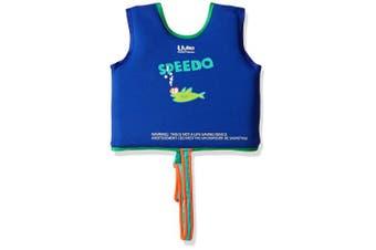 (Medium, Sapphire Blue) - Speedo Kids' UPF 50+ Begin to Swim Printed Neoprene Swim Vest