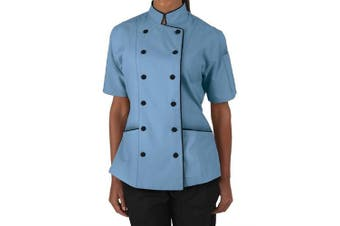 (XS (For Bust 32-33), Blue) - Short Sleeves Women's Ladies Chef's Coat Jackets By Chef's Apparels (XS (For Bust 32-34), Blue)