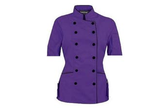 (S (For Bust 34-35), Purple) - Short Sleeves Women's Ladies Chef's Coat Jackets By Chef's Apparels (S (For Bust 34-35), Purple)