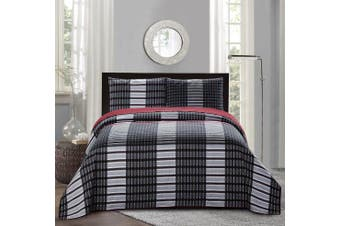 (Twin Size, Black/Red & Grey) - All American Collection New 2pc Plaid Printed Reversible Bedspread/Quilt Set (Twin Size)