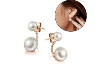 New Fashion Lady 925 Silver Plated Freshwater Pearl Ear Stud Dangle Earrings
