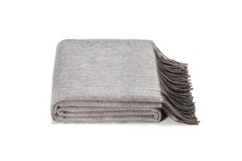 (Gray) - SPENCER & WHITNEY Natural Throw Blanket Reversible All Season Wool Blanket Lightweight Warm Luxury for Bed Coach Office Outdoor (Grey)