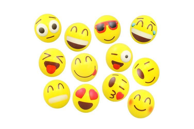 24 Colourful Emoji Stress Balls - Squishy, Squeezable Fidget Toy for Kids - High-Quality Materials for Lasting Use - Cool Squeeze Balls Improve Anxiety and ADHD - Great Party Favours or Classroom Toys