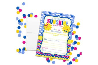 Amanda Creation Little Ray of Sunshine Gender Reveal Party Fill in Invitations Set of 20
