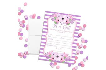 Amanda Creation Pink & Purple Watercolour Floral Baby Girl Shower Fill in Invitations, Set of 20 Including envelopes
