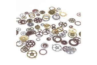 (Assorted Color 2) - BIHRTC 100 Gramme DIY Assorted Colour Antique Metal Steampunk Gears Charms Pendant Clock Watch Wheel Gear for Crafting, Jewellery Making Accessory