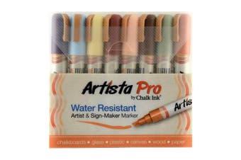 (6 mm, Earthy) - Chalk Ink Artista Pro Water Resistant Artist & Sign-Maker Marker Earthy Set of 8