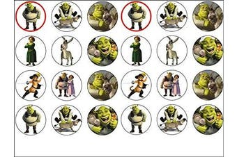 24 Shrek Edible Wafer Paper Cup Cake Toppers