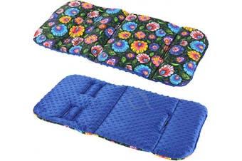 (floral navy / royal blue fleece) - Reversible Cotton & Minky Pram Insert, Liner Covers 5pt Universal (Floral Navy/Royal Blue Fleece)