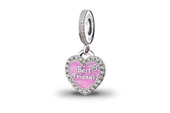 ATHENAIE 925 Sterling Silver Romantic Pink Enamel Best Friends Pendants with CZ Birthstone Dangle Charm Fit All European Bracelets Necklace