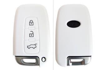 (3-Button-Keyless, Weiß) - CK + Kia Ceed Picanto Silicone Car Key Case/Key Cover Case Cover for Rio Optima Carens