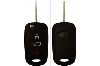 (3-Button-Keybit, black) - CK + Kia Ceed Picanto Silicone Car Key Case/Key Cover Case Cover for Rio Optima Carens