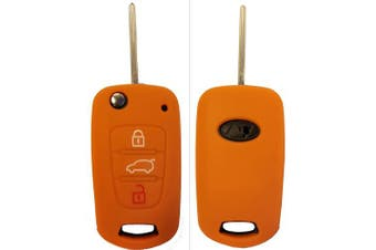 (3-Button-Keybit, Orange) - CK + Kia Ceed Picanto Silicone Car Key Case/Key Cover Case Cover for Rio Optima Carens