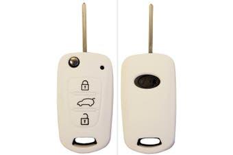(3-Button-Keybit, Weiß) - CK + Kia Ceed Picanto Silicone Car Key Case/Key Cover Case Cover for Rio Optima Carens