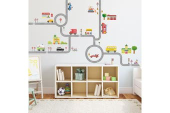 (Large) - Decowall DA-1404 The Road & Cars Peel and Stick Nursery Kids Wall Decals Stickers (Large)