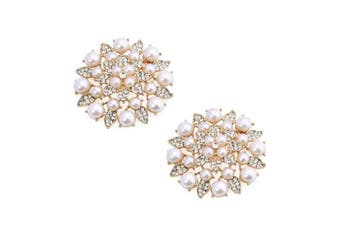 (BK_Gold) - ElegantPark Fashion Pearls Rhinestones Flowers Crystals Wedding Party Shoe Clips