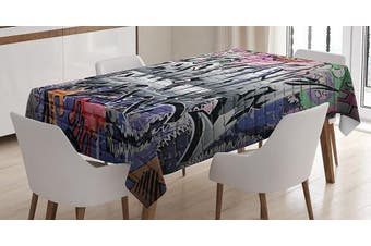(150cm  W By 230cm  L, Multi 1) - Rustic Home Decor Tablecloth by Ambesonne, With Hooks Graffiti Grunge Art Wall Several Creepy Underground City Paint , Dining Room Kitchen Rectangular Table Cover, 60W X 90L Inches, Multi