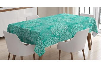 (150cm  W By 230cm  L, Multi 8) - Dahlia Flower Decor Tablecloth by Ambesonne, Repeating Figures Fashioned Dots Spots Mother Earth Peony Graphic Image, Dining Room Kitchen Rectangular Table Cover, 60W X 90L Inches, White Teal