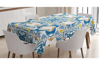 (150cm  W By 230cm  L, Multi 9) - Traditional House Decor Tablecloth by Ambesonne, Tunisian Mosaic with Azulojo Spanish Influence Authentic Retro Islamic, Dining Room Kitchen Rectangular Table Cover, 60W X 90L Inches, Blue
