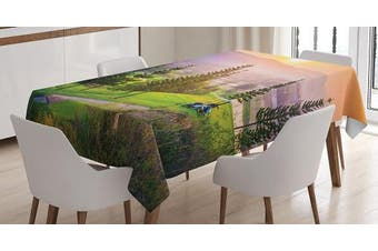 (130cm  W By 180cm  L, Multi 7) - Farm House Decor Tablecloth by Ambesonne, Vibrant Golf Resort Park in Spring Season with Trees Sunset Hills and Valley, Dining Room Kitchen Rectangular Table Cover, 52W X 70L Inches, Multi