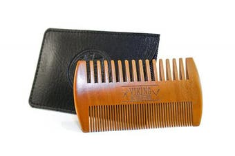 (Beard Comb) - Wooden Beard Comb & Case, Dual Action Fine & Coarse Teeth, Perfect for use with Balms and Oils, Top Pocket Comb for Beards & Moustaches by Viking Revolution