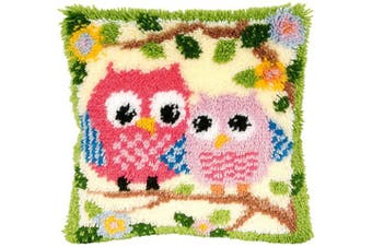 (BZ644) - Beyond Your Thoughts Latch Hook Kits for DIY Throw Pillow Cover Sofa Cushion Cover Owl with Pattern Printed 41cm X 41cm BZ644