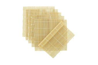(Set G : 6 Natural Bamboo Sushi Mats) - BambooMN Brand - 6x Natural Bamboo Sushi Rolling Mats - 24cm x 24cm (Set G)