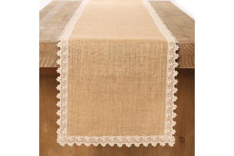 (30cm  x 210cm ) - Ling's moment 30cm x 210cm Burlap Cream Lace Hessian Table Runner Jute Rustic Country Wedding Party Decoration, Kitchen Decor Farmhouse Decoration (Various Size Available)