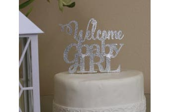 All About Details Silver Welcome Baby Girl Topper