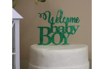 All About Details Green Welcome Baby Boy Cake Topper