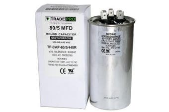 80/5 MFD 440 or 370 Volt Round Run Capacitor Replacement TradePro 80+5